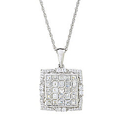 "Gem Treasures® 2.22ctw White Zircon Square Pendant w/ 18"" Rope Chain"