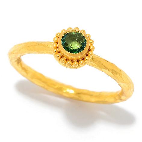 Cevherun 24K_Gold Gemstone Beaded_Halo_Bezel Stack_Band_Ring