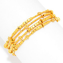 "Cevherun 24K Gold 8"" 0.27ctw Diamond 4-Strand Beaded Bracelet"