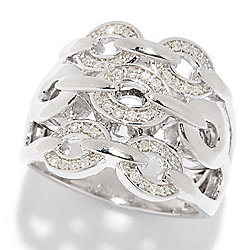 Diamond Treasures® Sterling Silver 0.18ctw Diamond Chain Link 3-Row Ring