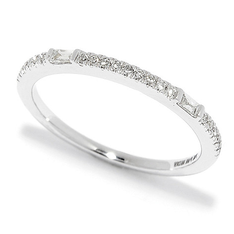 Diamond_Treasures® 14K_Gold 0.13ctw_Round_and_Baguette_Cut_Diamond Stack_Band_Ring