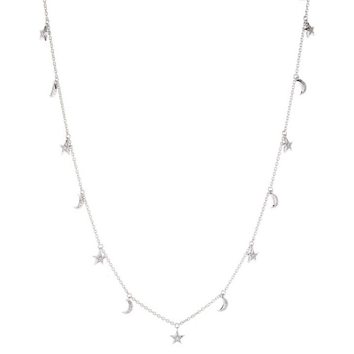 Diamond & Gem Treasures at ShopHQ | 185-304 Diamond Treasures® Sterling Silver Choice of Design Charm Station Necklace