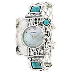 Passage to Israel™ Women's Quartz Mother-of-Pearl & Turquoise Sterling Silver Bracelet Watch