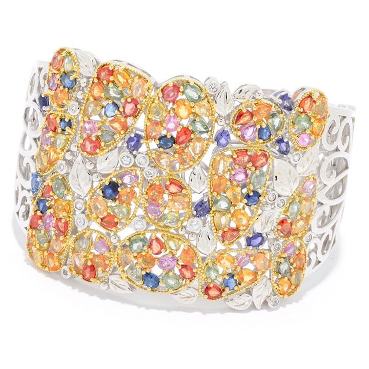 Sterling Silver at ShopHQ | 185-320 Dallas Prince 7.25 29.86ctw Multi Gemstone Wide Cuff Bracelet