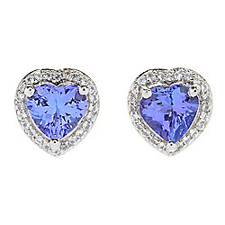 Gem Treasures® 1.51ctw Tanzanite & White Zircon Heart Stud Earrings