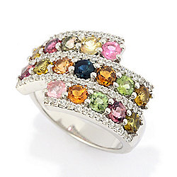 Rings - 185-372 Gemporia 2.33ctw Multi Color Tourmaline & White Zircon Ring - 185-372