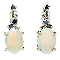 Gemporia Ethiopian Opal & Blue Diamond Stud Earrings