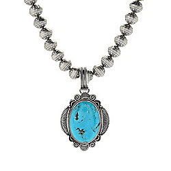 Sunwest Silver Jewelry at ShopHQ 185-414 Sunwest Silver 42 x 30mm Oval Turquoise Pendant w 20 Beaded Necklace - 185-414