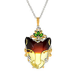 "Gems en Vogue 29 x 23mm Carved Bi-Color Amber & Chrome Diopside Panther Pendant w/ 18"" Chain"