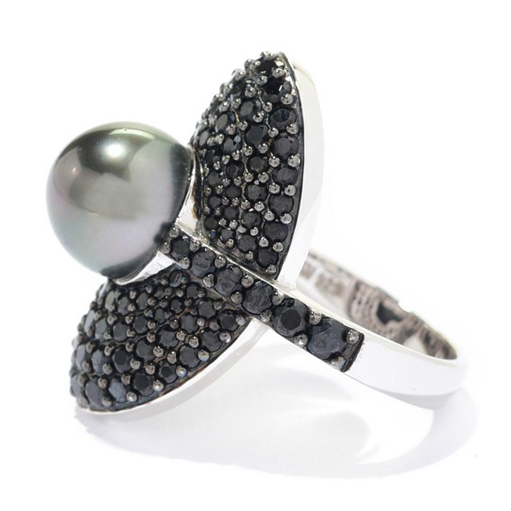Kwan Collections   185-531 Kwan Collections Sterling Silver 9-10mm Tahitian Cultured Pearl & Black Spinel Ring