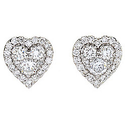 Sonia Bitton Galerie de Bijoux® 14K White Gold 0.83ctw Diamond Cluster Heart Stud Earrings