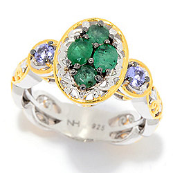 Gems en Vogue Zambian Emerald & Tanzanite Cluster Ring