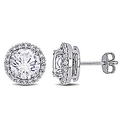 Miarosa Sterling Silver 5.52ctw Lab-Created White Sapphire Stud Earrings