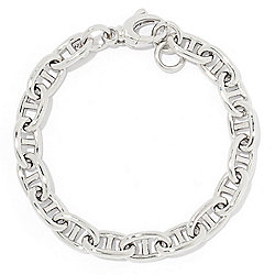 Sorrento Italian Silver -  Sorrento Italian Silver Fancy Oval Link Bracelet with Large Lobster Clasp - 185-668