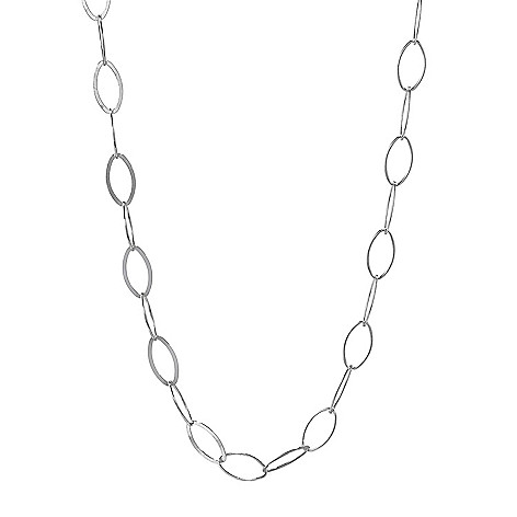 """Sorrento_Italian Silver_31"""" Elongated Oval_Link Chain_Necklace"""