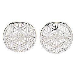 Sorrento Italian Silver Della Vita Flower Cut-out Stud Earrings