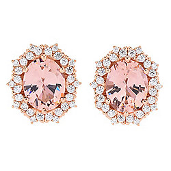 Victoria Wieck for Brilliante® Simulated Morganite Halo Stud Earrings