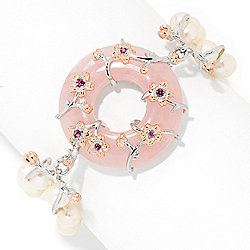 "Gems en Vogue Asia Final Cut 7.25"" Freshwater Cultured Pearl & Rose Quartz Toggle Bracelet"
