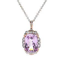 Gems en Vogue 21.28ctw Kunzite & White Zircon Limited Edition Pendant w Chain - 185-915