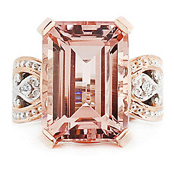 Gems en Vogue Final Cut 15.31ctw 18x13 Peach Morganite & White Zircon Ring