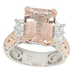 Gems en Vogue Final Cut 6.06ctw Peach Morganite & White Zircon Ring
