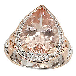 Gems en Vogue Final Cut 9.39ctw 16 x 12mm Peach Morganite Ring
