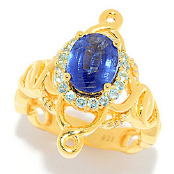 Hall of Style 2.38ctw Oval Kyanite, Swiss Blue Topaz & Diamond Ring