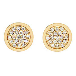 Beverly Hills Elegance® 14K Gold 0.44ctw Diamond Pave Circle Stud Earrings