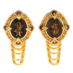 Hall of Style 3.60ctw Smoky Quartz, Garnet & Citrine Stud Earrings