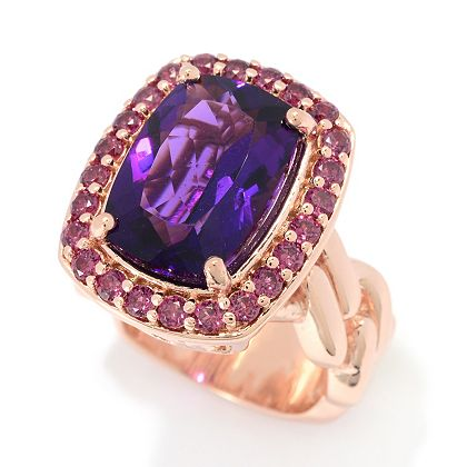 Amethyst Jewelry Featuring Dallas Prince at ShopHQ | 186-007 Hall of Style 7.31ctw African Amethyst & Rhodolite Garnet Halo Ring