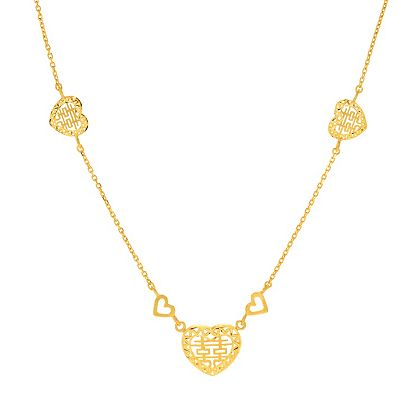 Rings Sale At ShopHQ   186-149 Lambert Cheng Double Happiness 24K Gold 17 Heart Station Necklace, 9.6 grams