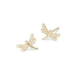 Italian Gold 14K Yellow Gold 2.40 DEW Simulated Diamond Dragon Fly Stud Earrings