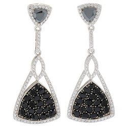 186-254 - Dallas Prince Sterling Silver 2.25 12.64ctw Gem & Black Spinel Drop Earrings - 186-254