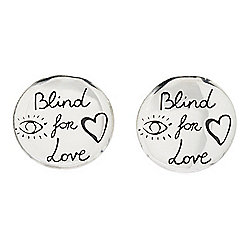 "Gucci ""Blind For Love"" Sterling Silver Stud Earrings, 5.4 grams"