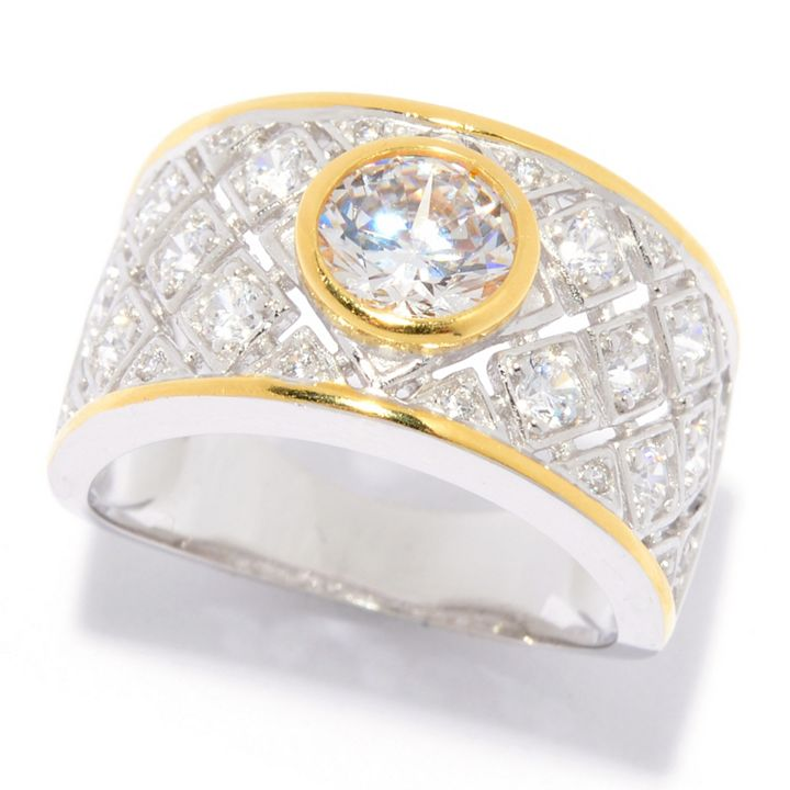 Sterling Silver Gifts at ShopHQ | 186-299 Charlie Lapson Sterling Silver 18K Gold Accented Simulated Diamond Ring