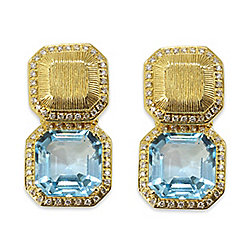 Michelle Albala 18K Yellow Gold 9.22ctw Diamond & Topaz Adjustable Earrings