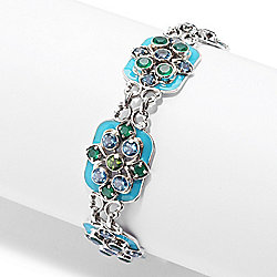 "Nicky Butler Sterling Silver 8"" Topaz & Chalcedony Adjustable Station Bracelet"