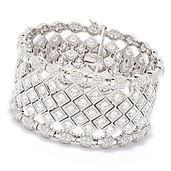 Bracelets at ShopHQ | 186-467 Charlie Lapson Sterling Silver 7.25 21.29 DEW Simulated Diamond Cuff Link Bracelet - 186-467