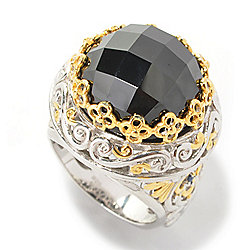 Gems en Vogue Final Cut 8.10ctw Rose Cut Black Spinel & Sapphire Ring