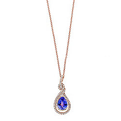 "EFFY 14K Gold 2.09ctw Tanzanite & Diamond Pendant w/ 18"" Chain"