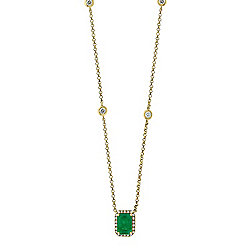 "EFFY 14K Gold 20"" 1.16ctw Emerald & Diamond Necklace"