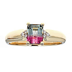 Fierra at ShopHQ | 186-586 Fierra 14K Gold 1.64ctw Bi-Color Tourmaline & Diamond Band Ring - 186-586