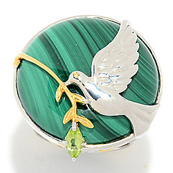 Gems en Vogue Malachite and Peridot Dove and Branch Ring