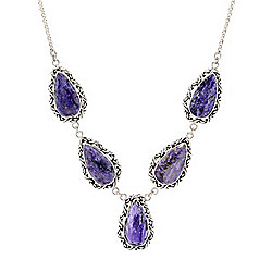 "Artisan Silver by Samuel B. 20.25"" Pear Shaped Charoite Necklace"