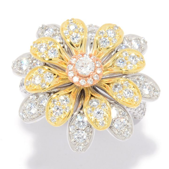 PREMIERE Charlie Lapson - 186-782 Charlie Lapson Choice of Plating 1.61 DEW Simulated Diamond Blooming Flower Ring