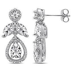 Jules by Julianna B. Sterling Silver 0.25ctw Diamond Drop Earrings