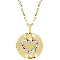 "Miarosa Diamond Accented Locket Pendant w/ 18"" Chain"