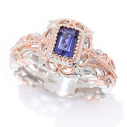 Gems en Vogue 18K Rose Gold Embraced™ Rectangular Step Cut Iolite Ring