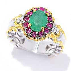 Gems en Vogue 1.72ctw Belmont Emerald, Ruby & Diamond Halo Ring