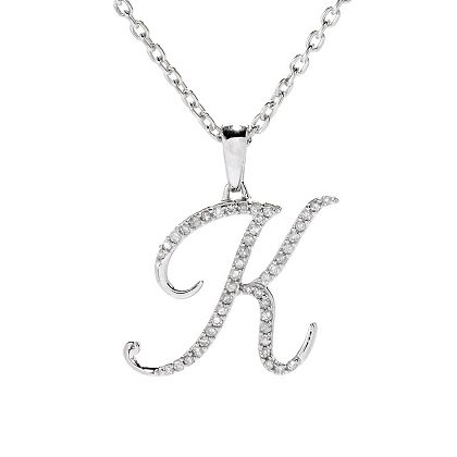Today's Biggest Deals - 186-939 Diamond Treasures® Sterling Silver Diamond Initial Pendant w 18 Cable Chain